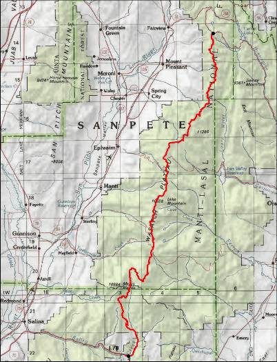 Skyline Drive - Us 89 utah map