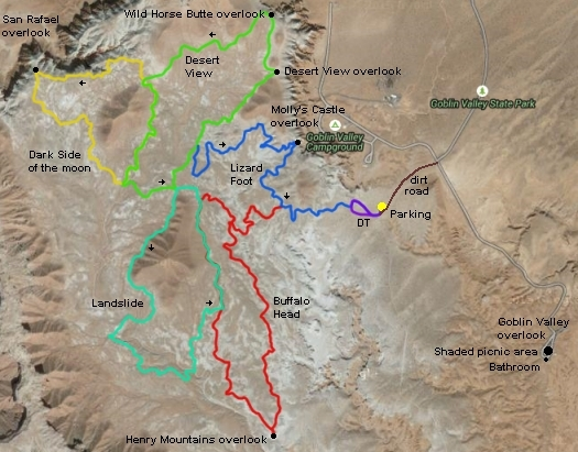 Wild Horse Mountain Bike Trail System at Goblin Valley State ... on valley of fire map, hardware ranch map, athabasca glacier map, ogden map, fisher towers map, american fork canyon map, death valley tourist map, water quality map, coral pink sand dunes map, logan map, negro bill canyon map, red rock canyon map, cedar breaks map, tornado valley map, pelican lake map, timpanogos cave map, brian head map, little cottonwood canyon map, sego canyon map, great salt lake map,